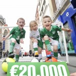 NO REPRO FEE 16/05/2012. Pictured are Evan Paul Leonard (age 5), Saoirse Jones(age 5) and Mark Molla Ryan (age 6), all from St.. Audoens National School, Dublin to announce that Life Style Sports has pledged to donate 1euro to Barnardos for every official