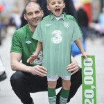 NO REPRO FEE 16/05/2012. Pictured is former Irish international footballer and Barnardos ambassador, Richie Sadlier with Mark Molla Ryan (age 6) from St. Audoens National School, Dublin to announce that Life Style Sports has pledged to donate ¤1 to Barnar